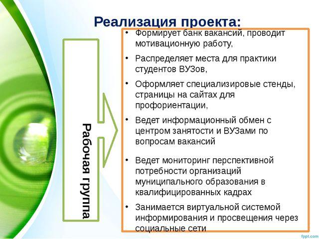 Реализация проекта: Рабочая группа Формирует банк вакансий, проводит мотиваци...