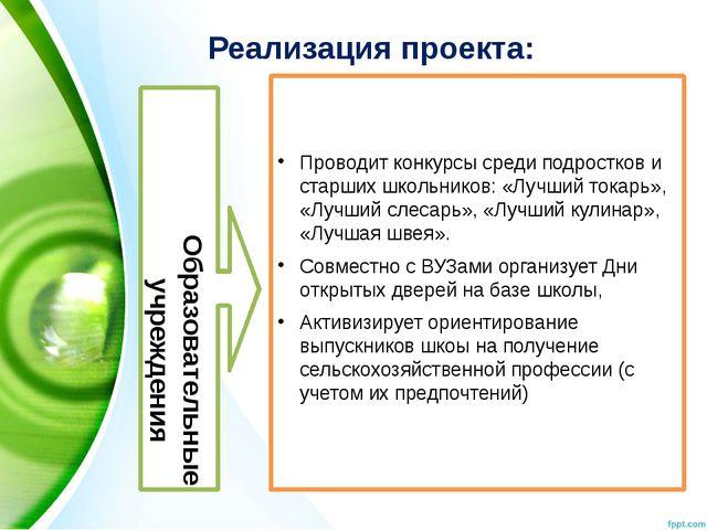Реализация проекта: Образовательные учреждения Проводит конкурсы среди подрос...