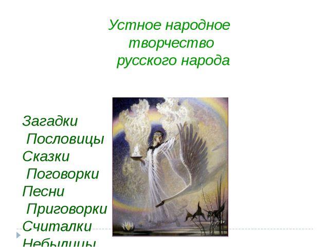 Устное народное творчество русского народа Загадки Пословицы Сказки Поговорки...