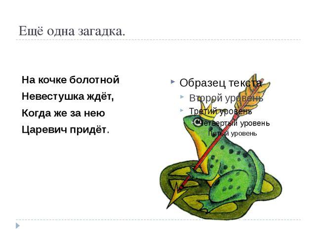 Ещё одна загадка. На кочке болотной Невестушка ждёт, Когда же за нею Царевич...