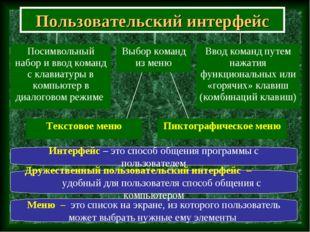 Пользовательский интерфейс Меню – это список на экране, из которого пользоват