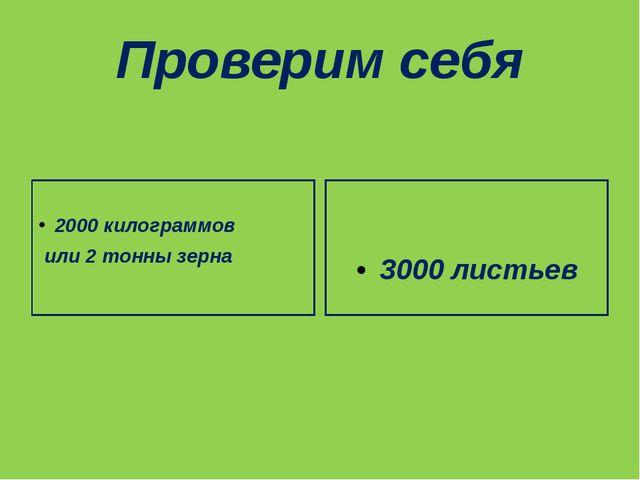 Проверим себя 2000 килограммов или 2 тонны зерна 3000 листьев