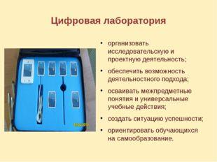 Цифровая лаборатория организовать исследовательскую и проектную деятельность;