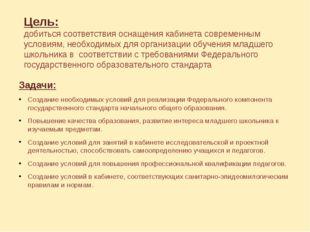 Цель: добиться соответствия оснащения кабинета современным условиям, необходи