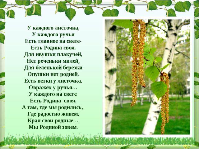 У каждого листочка, У каждого ручья Есть главное на свете- Есть Родина своя....