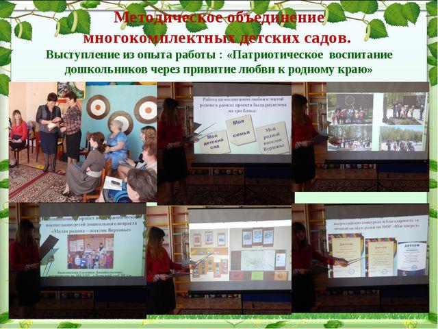 Методическое объединение многокомплектных детских садов. Выступление из опыта...
