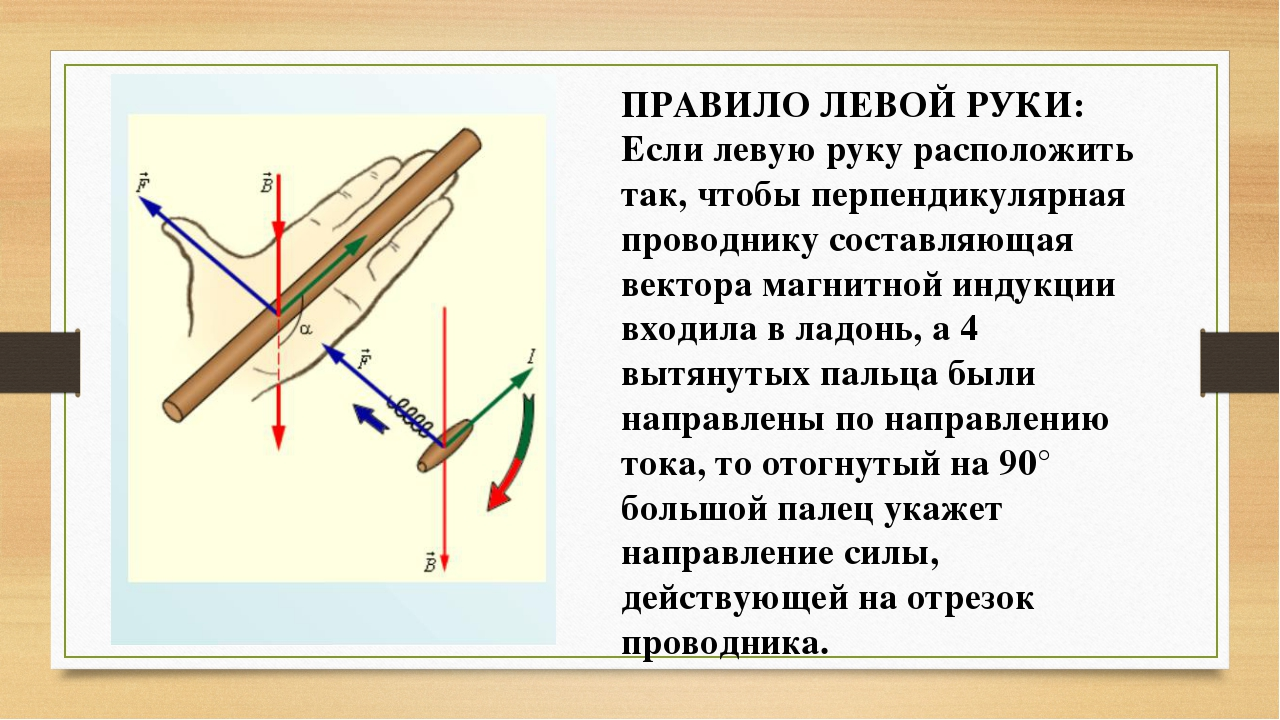ПРАВИЛО ЛЕВОЙ РУКИ: Если левую руку расположить так, чтобы перпендикулярная п...