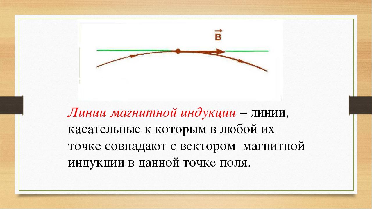 Линии магнитной индукции – линии, касательные к которым в любой их точке совп...