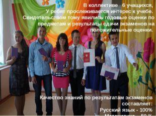 В коллективе 6 учащихся, У ребят прослеживается интерес к учебе. Свидетельств