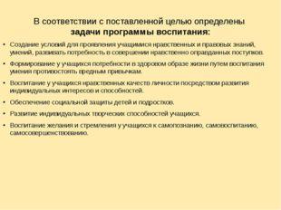 В соответствии с поставленной целью определены задачи программы воспитания: С