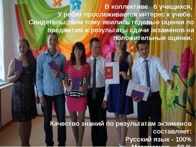 В коллективе 6 учащихся, У ребят прослеживается интерес к учебе. Свидетельств...