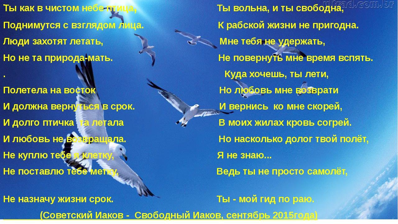 Ты как в чистом небе птица, Ты вольна, и ты свободна, Поднимутся с взглядом...