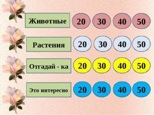 Животные Растения Отгадай - ка Это интересно 20 30 40 50 20 30 40 50 20 30 40