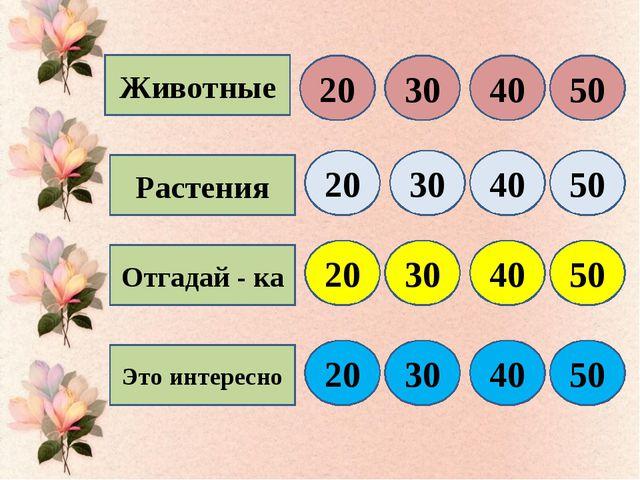 Животные Растения Отгадай - ка Это интересно 20 30 40 50 20 30 40 50 20 30 40...