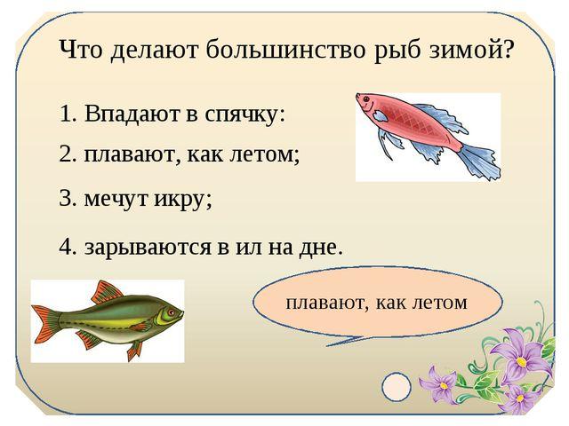 Что делают большинство рыб зимой? 1. Впадают в спячку: 2. плавают, как летом;...