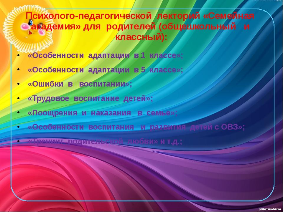 Психолого-педагогической лекторий «Семейная академия» для родителей (общешкол...