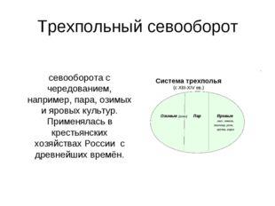 Трехпольный севооборот Трёхпо́лье, или трёхпо́лка — система севооборота с чер