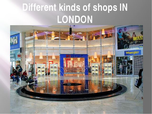 Different kinds of shops IN LONDON