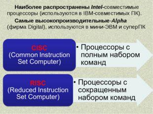 Наиболее распространены Intel-совместимые процессоры (используются в IBM-совм