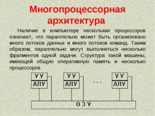 Многопроцессорная архитектура Наличие в компьютере нескольких процессоров озн