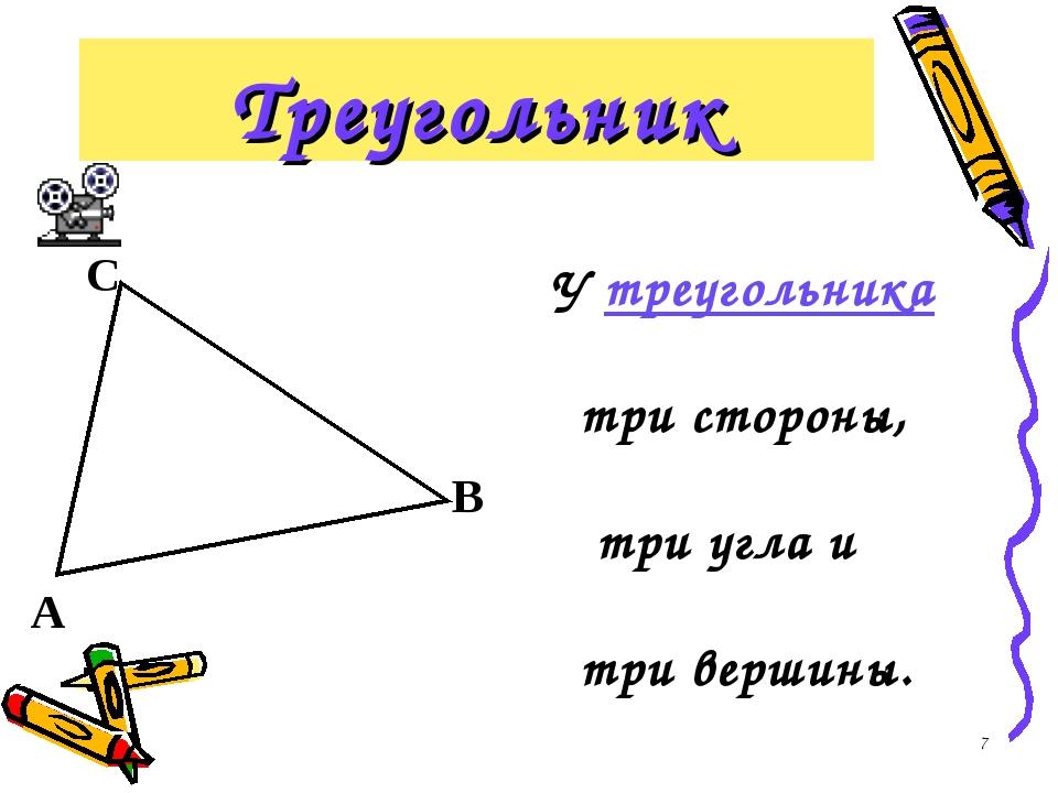* Треугольник У треугольника три стороны, три угла и три вершины.