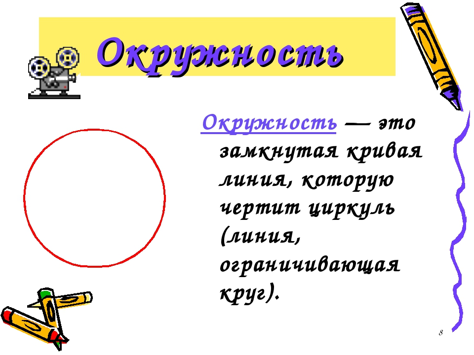 * Окружность Окружность — это замкнутая кривая линия, которую чертит циркуль...