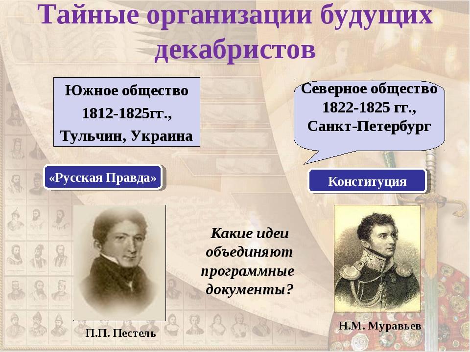 Тайные организации будущих декабристов Южное общество 1812-1825гг., Тульчин,...