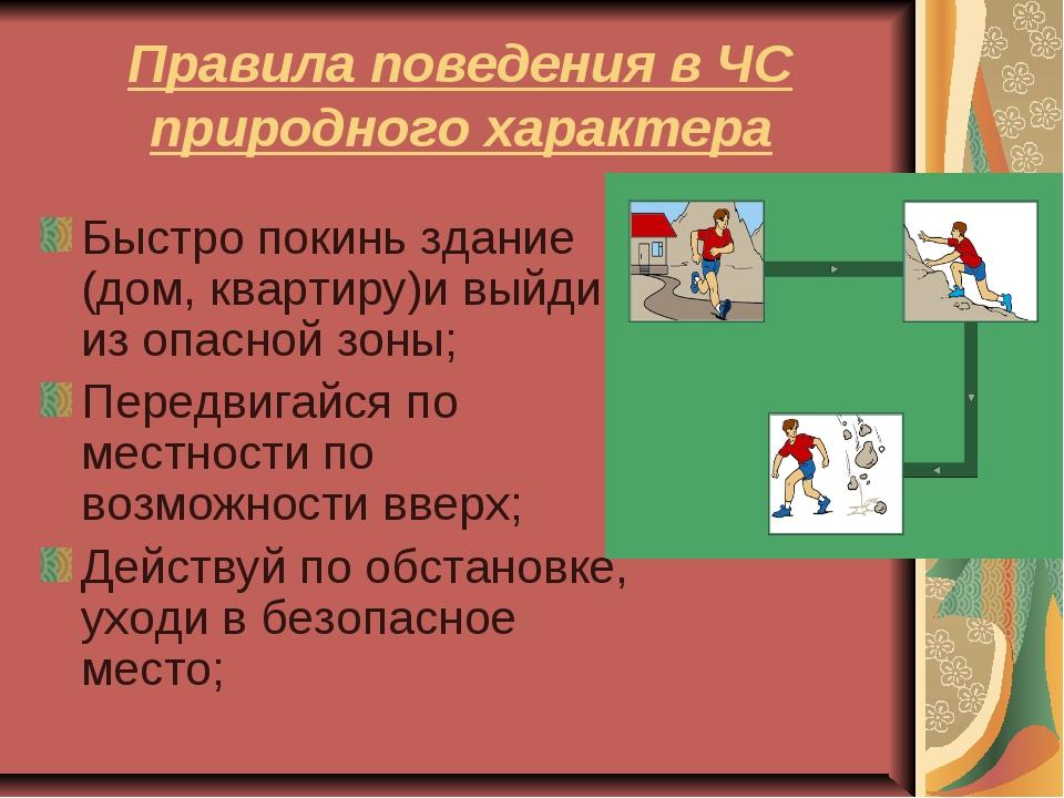 Правила поведения в ЧС природного характера Быстро покинь здание (дом, кварти...