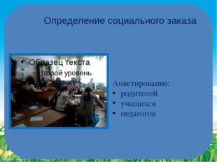 Определение социального заказа Анкетирование: родителей учащихся педагогов Fo