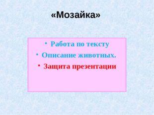 «Мозайка» Работа по тексту Описание животных. Защита презентации