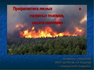 Профилактика лесных и торфяных пожаров, защита населения Составитель – учител