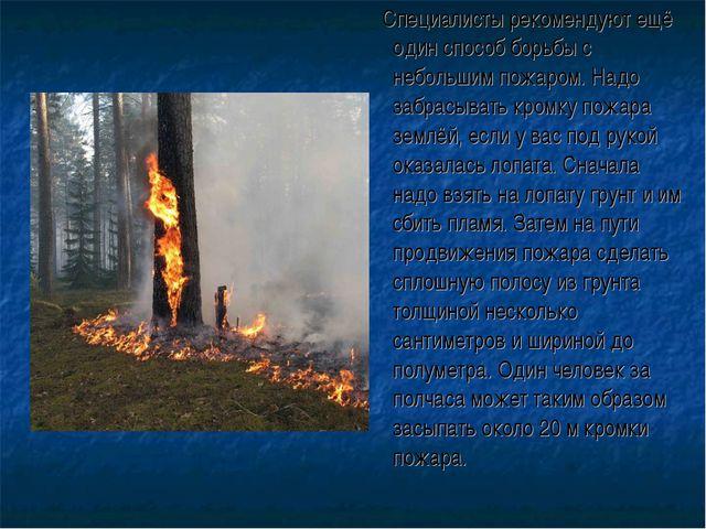 Специалисты рекомендуют ещё один способ борьбы с небольшим пожаром. Надо заб...