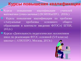 Курсы повышения квалификации Курсы повышения квалификации учителей математики