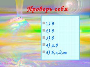 Проверь себя 1) в 2) в 3) б 4) а,в 5) б,г,д,ж