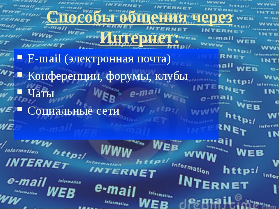 Способы общения через Интернет: E-mail (электронная почта) Конференции, форум...