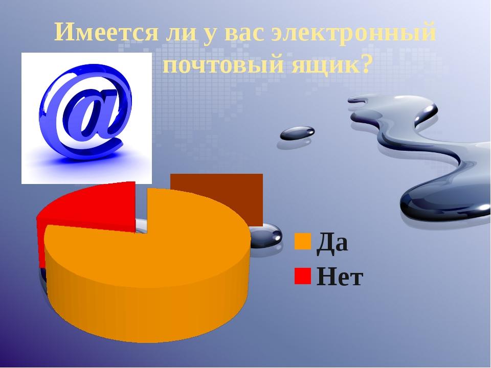 Имеется ли у вас электронный почтовый ящик?