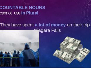 UNCOUNTABLE NOUNS We cannot use in Plural They have spent a lot of money on t