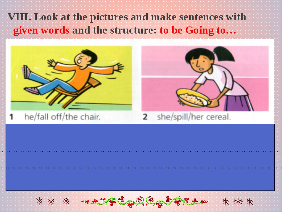 VIII. Look at the pictures and make sentences with given words and the struct...