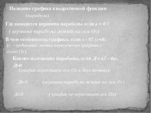( вершина параболы лежит на оси Оу) Название графика квадратичной функции (па