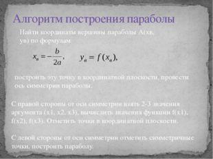 Алгоритм построения параболы Найти координаты вершины параболы А(хв, ув) по ф