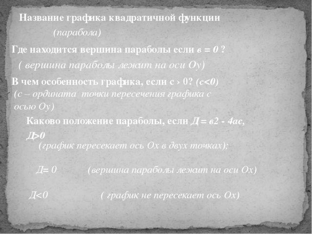 ( вершина параболы лежит на оси Оу) Название графика квадратичной функции (па...