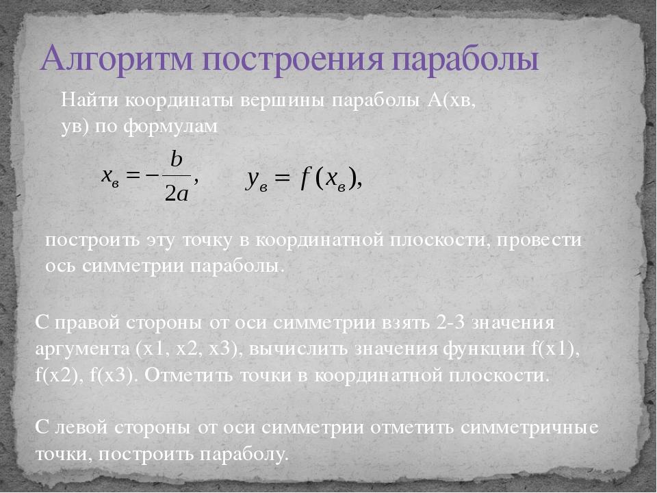 Алгоритм построения параболы Найти координаты вершины параболы А(хв, ув) по ф...