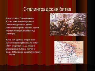 Сталинградская битва В августе 1942 г. Сталин назначил Жукова заместителем Ве