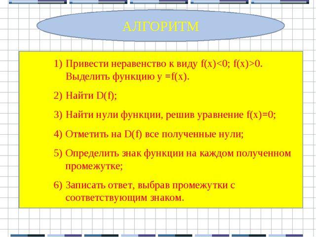 Привести неравенство к виду f(x)0. Выделить функцию y =f(x). Найти D(f); Най...