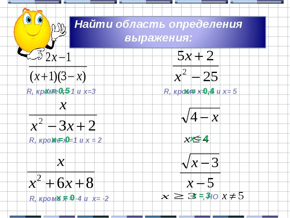 Найти область определения выражения: R, кроме х=-1 и х=3 R, кроме х =1 и х =...