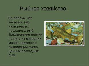Рыбное хозяйство. Во-первых, это касается так называемых проходных рыб. Воздв