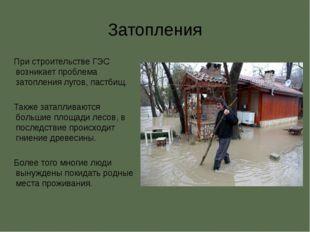 Затопления При строительстве ГЭС возникает проблема затопления лугов, пастбищ