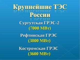 Сургутская ГРЭС-2 (7000 МВт) Рефтинская ГРЭС (3800 МВт) Костромская ГРЭС (360