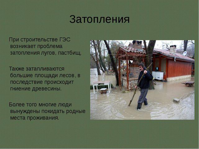 Затопления При строительстве ГЭС возникает проблема затопления лугов, пастбищ...