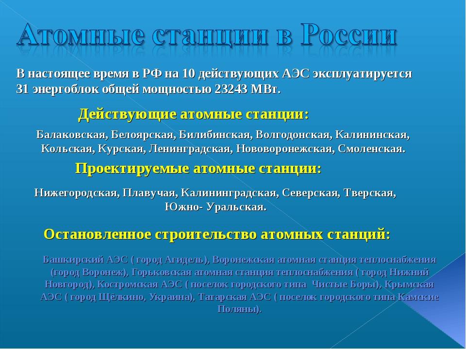 Башкирский АЭС ( город Агидель), Воронежская атомная станция теплоснабжения...